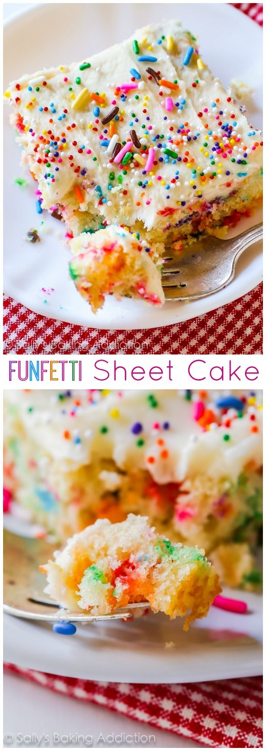 Vanilla Frosted Funfetti Sheet Cake Dessert Recipe by Sally's Baking Addiction - so festive and perfect for Birthday Parties and Celebrations! The Best EASY Sheet Cakes Recipes - Simple and Quick Party Crowds Desserts for Holidays, Special Occasions and Family Celebrations #sheetcakerecipes #sheetcake #sheetcakes #cakerecipes #cakes #dessertforacrowd #partydesserts #christmasdesserts #thanksgivingdesserts #newyearseve #birthdaydesserts