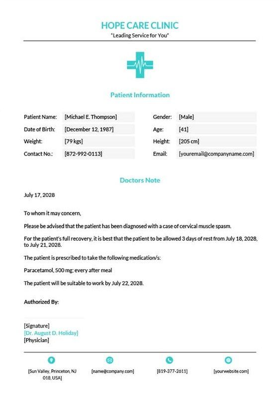 9 Best Free Doctors Note Templates For Work Every Last Template Free Download Doctors Note Template Doctors Note Notes Template