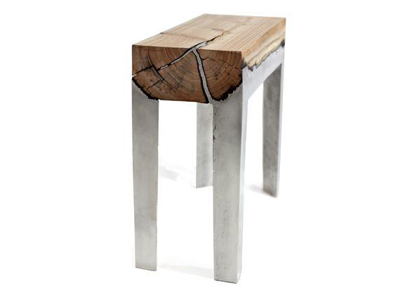 Wood casting - furniture combining cast aluminum and wood