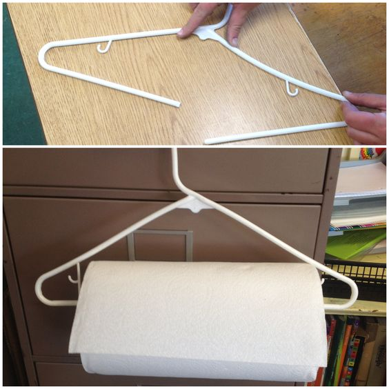 Slim idee: breek een kapstok en hang er een rol  keukenpapier aan. Zo is er altijd papier voor handen in de klas. .