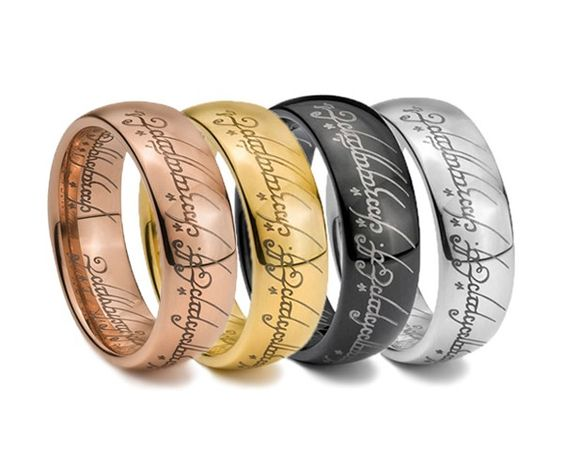 quot the lord of the rings quot tungsten carbide engraved yellow