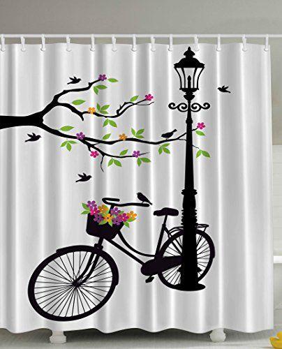 Artsy Shower Curtain by Ambesonne, Spring Tree Birds Bike...