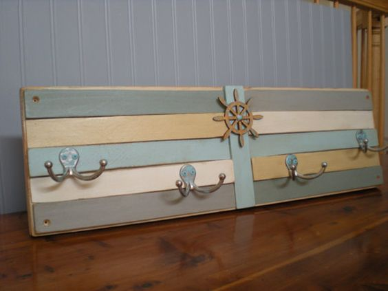 Nautical coat rack in beachy colors of light aqua, cottage white ...