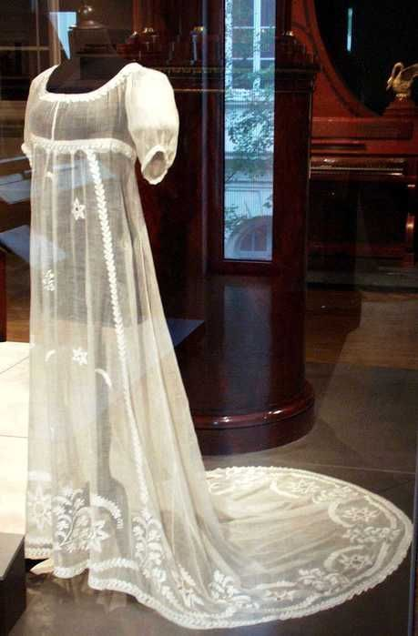 muslin gown with embroidery.