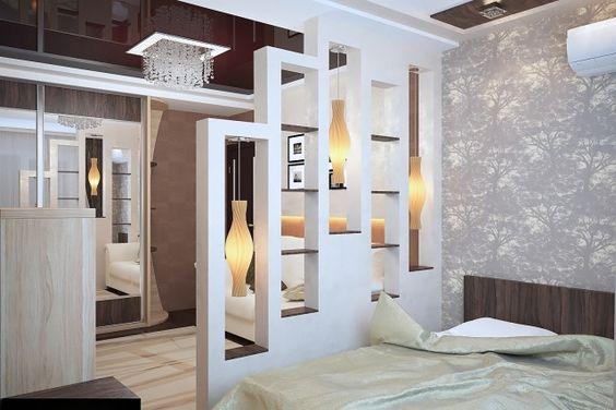 raumteiler schlafzimmer ideen regalwand pendelleuchten