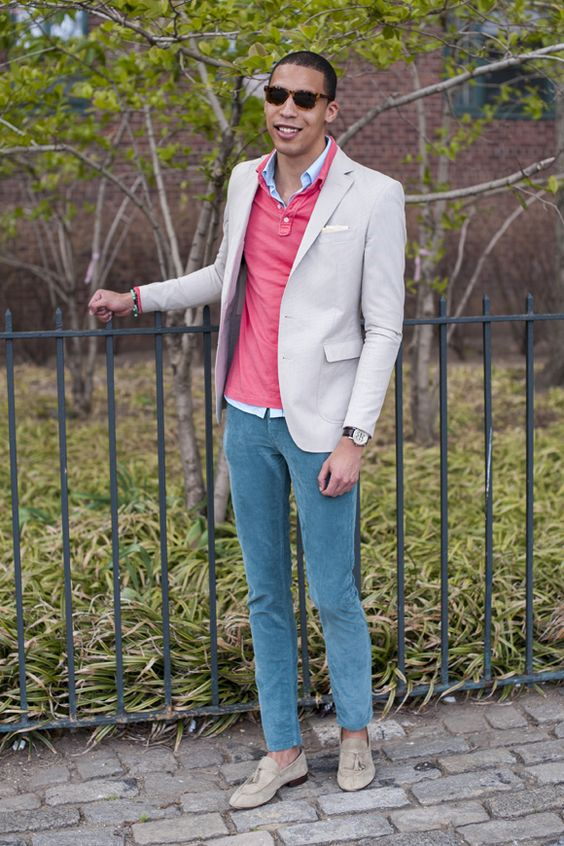 Blue Cotton Whipcord Suit Jacket Turquoise Striped Shirt
