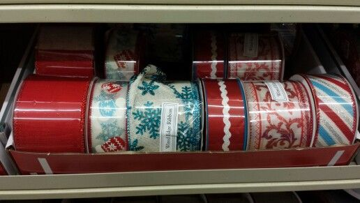 Hobby Lobby - Red White Aqua Christmas Ribbon | Retro Xmas ...