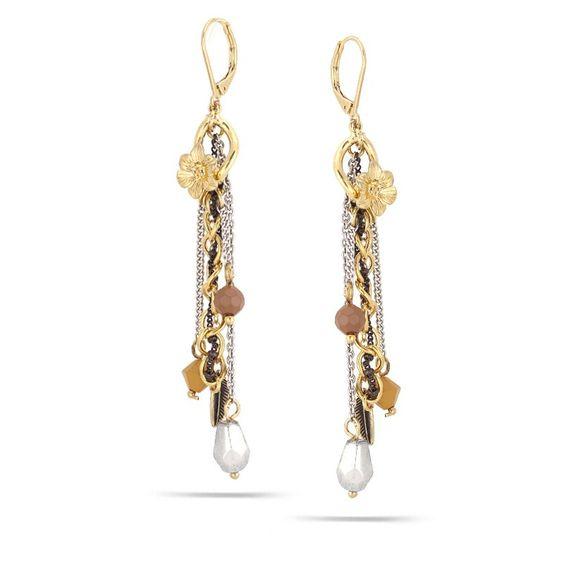 Gold-Silver-Hematite-Tone Metal Tassel Earerings