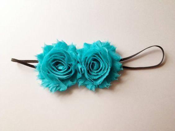 Adult Headband Double Chiffon Flower Turquoise by littleblueolive, $9.00