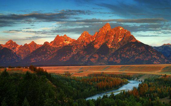 América, wyoming, montaña, bosque, río, otoño wallpaper