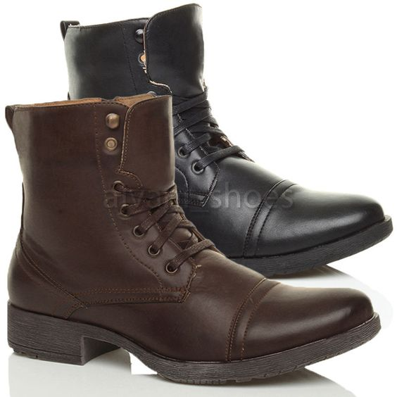 Details about MENS LOW HEEL MILITARY BIKER LACE UP ZIP ARMY COMBAT
