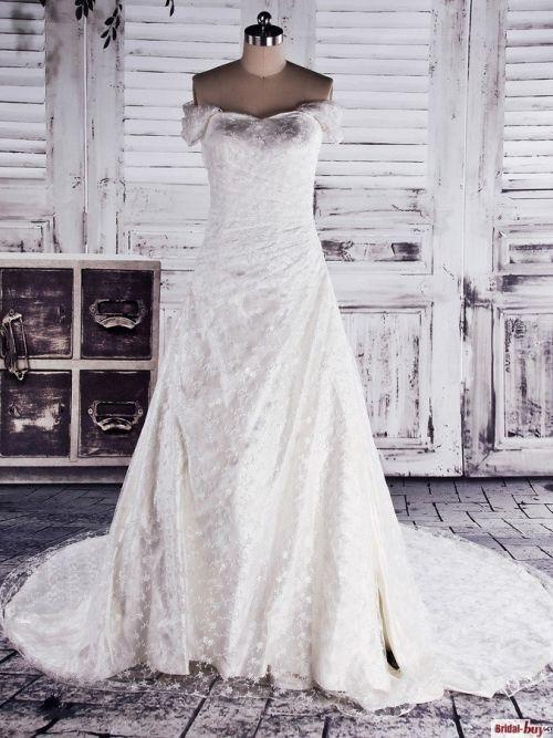 Luxury Elegant Princess Sweetheart Off-the-shoulder Ruched Chapel Train Long Lace Wedding Dress WAD-7369