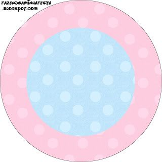 Rosa e Azul Poá - Kit Completo com molduras para convites, rótulos para guloseimas, lembrancinhas e imagens! - Fazendo a Minha Festa