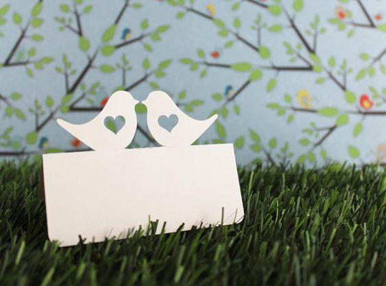Wedding Place Cards Love Birds heart Set of 100 by tiffzippy, $27.00
