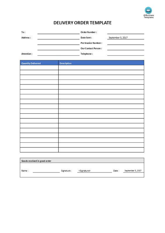 Delivery Order Template - Do you need a Delivery Order Template - delivery order template