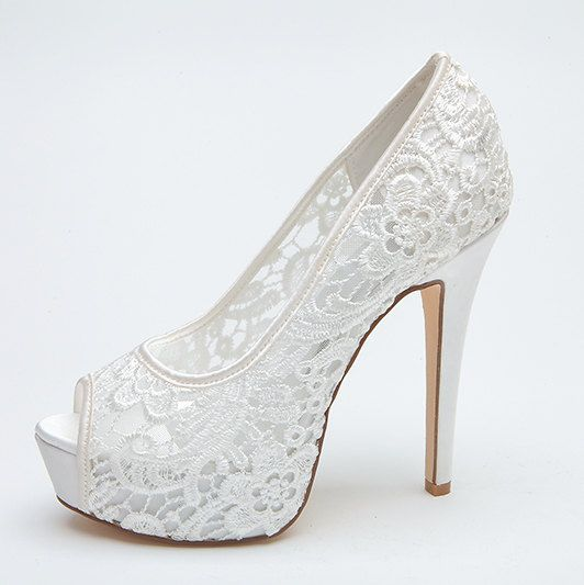 Sexy See Through Lace Bridal Wedding Shoes Platform Peep Open Toe Party Prom Pumps White Pink High Heels
