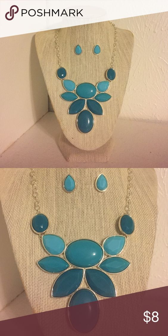 Statement necklace and earring set Beautiful necklace with matching earring stud set. NWB Jewelry Necklaces