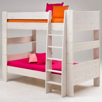 Litera de ni o madera blanca muebles pinterest for Literas de madera para ninos