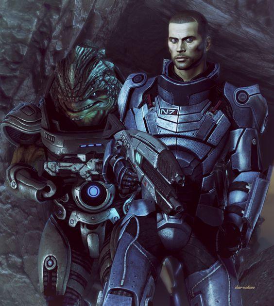 screenshot by magerose on tumblr. ME3. Urdnot Grunt and Commander John Shepard.