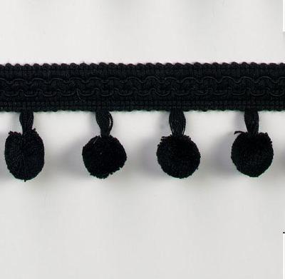 1 3/4in Chenille Ball Fringe Black