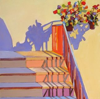 Daily Painting, Shadow Shapes, with stairs, flowers and shadows -- Carolee Clark
