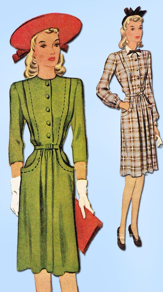 1940s Vintage McCall Sewing Pattern 4859 Misses WWII Tailored Dress Size 16 34B…