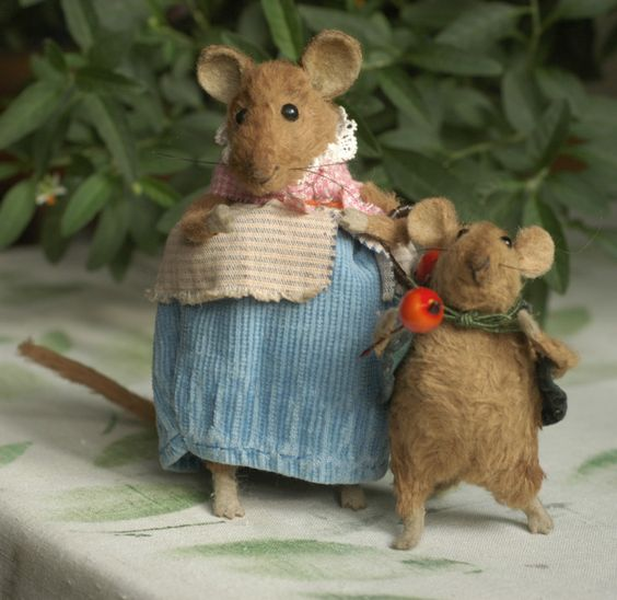 Stuffed Animals by Natasha Fadeeva - mice with berries