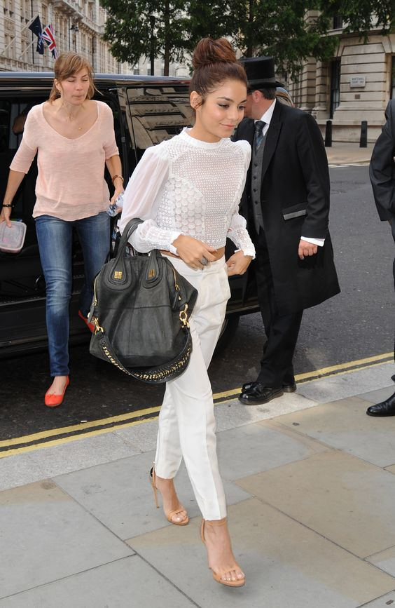 vanessa hudgens arriving at bbc radio one in london 16 july 2013 in catherine malandrino catherine malandrino tote black white beige