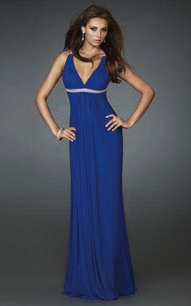 Vestido de fiesta largo azul electrico