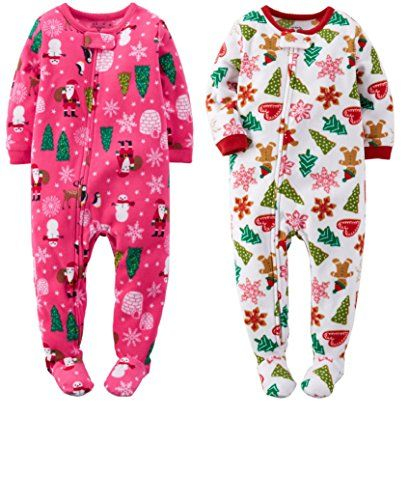 Carters Baby Girls 2 Pack Christmas Foot Pajamas 24 months -- See this great product.
