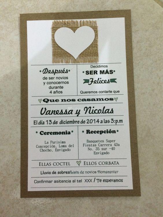 Textos para las invitaciones de matrimonio invitaciones - Tarjeta de boda ...