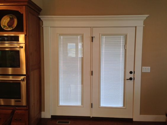 Doors french and french doors on pinterest - Exterior french doors with built in blinds ...