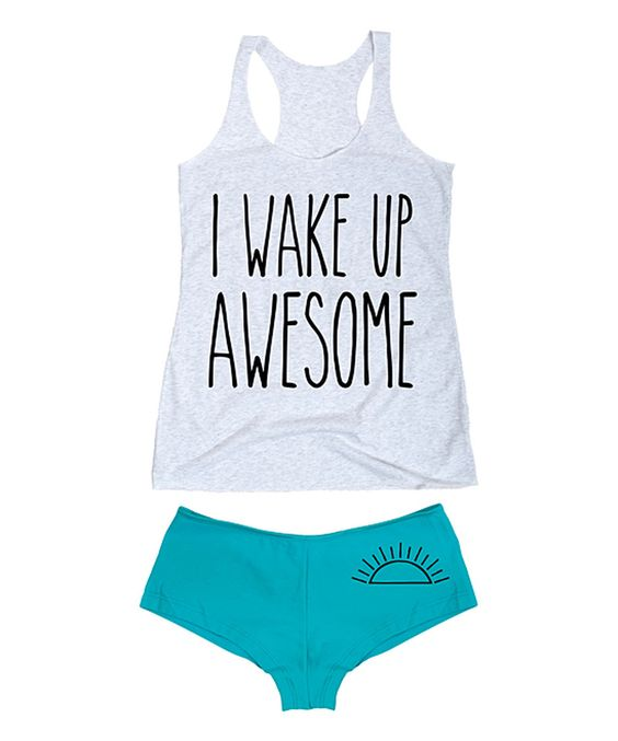 Look at this Heather White 'I Wake Up Awesome' Tee & Turquoise Hipster on #zulily today!