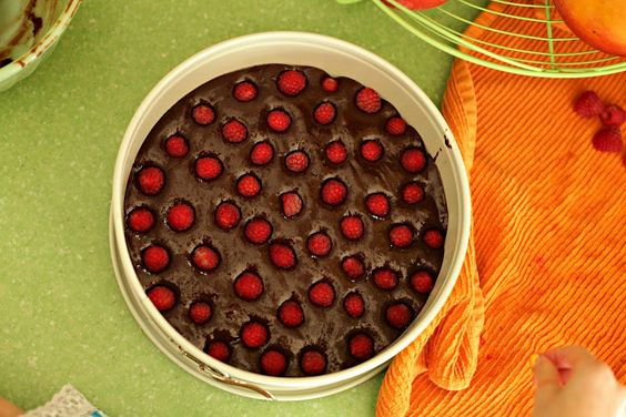 Brownies from scratch with raspberries