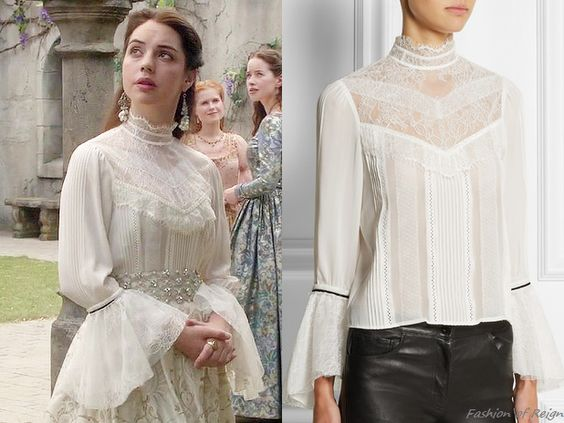 """In the episode 3x03 (""""Extreme Measures"""") Queen Mary wears this sold out Alice + Olivia Brett Victorian Lace Blouse. Worn with the Reign Costumes custom skirt, White by Vera Wang sash, Gillian..."""