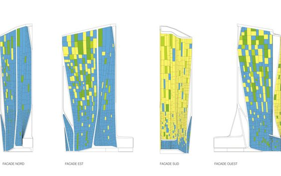 UNStudio, Paris, France, bioclimatic, tower, sustainability, second skin, active strategies, passive strategies, flexibility