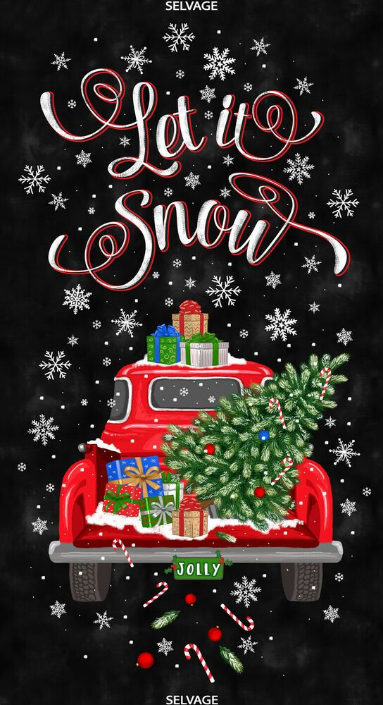 Let It Snow Panel Red Truck Fabric 24 Christmas Tree Truck Thefabricedge Christmas Tree Truck Cute Christmas Wallpaper Christmas Phone Wallpaper