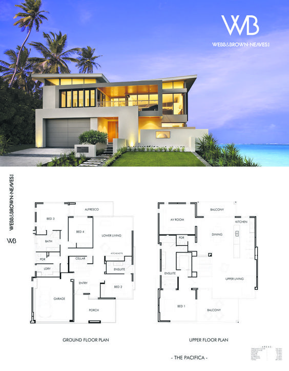 The pacifica by webb and brown neaves see it at 70 for Reverse living beach house plans
