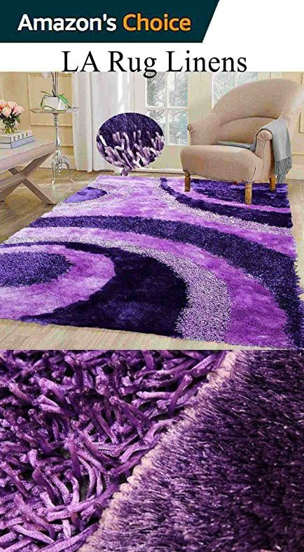 Dark Purple Light Lavender Shaggy Shag Area Rug
