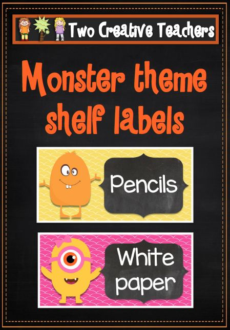 Classroom Labels Monster and Chalkboard Theme --- Product description: These labels can be placed on shelves. They can be displayed to help students navigate their way around the classroom. The label... #reachingteachers #classroomresources #labels
