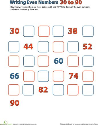 Common Worksheets counting to 30 worksheet : Even Numbers: 30-90 | Everything, Worksheets and Writing