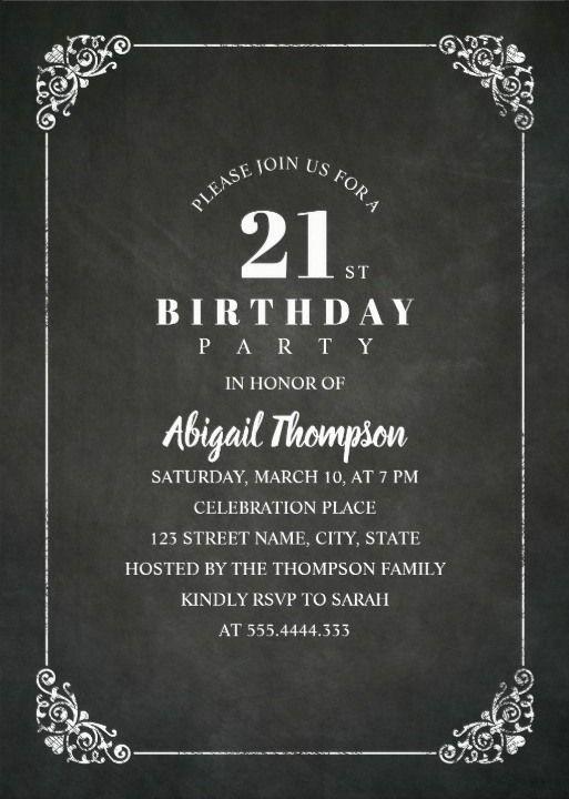 Chalkboard Adult 21st Birthday Party Invitations Festivita Ed