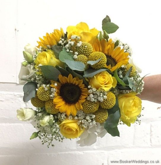 Bridal Handtied Bouquet In Yellow And Creams With Yellow Sunflowers Craspedia Roses Gyps Wedding Flowers Summer Cheap Wedding Flowers Orange Wedding Flowers