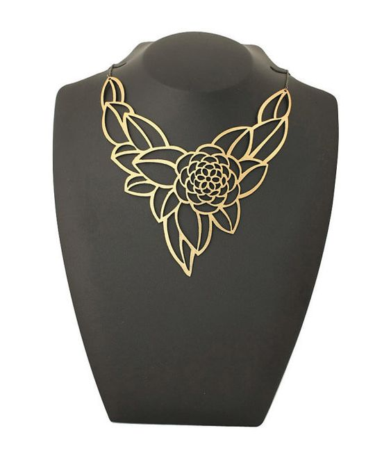 High fashion jewelry / jewellery - Elegant Camellia gold statement necklace - Laser cut leather with a gold foil finish.