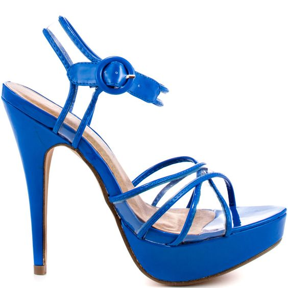 Play peek a boo with this cute see through style by 2 Lips.  Nelly brings you a cobalt blue patent silhouette with clear details through the vamp and adjustable ankle strap.  Leave a little to the imagination with the 5 1/2 inch heel and 1 3/4 inch platform.