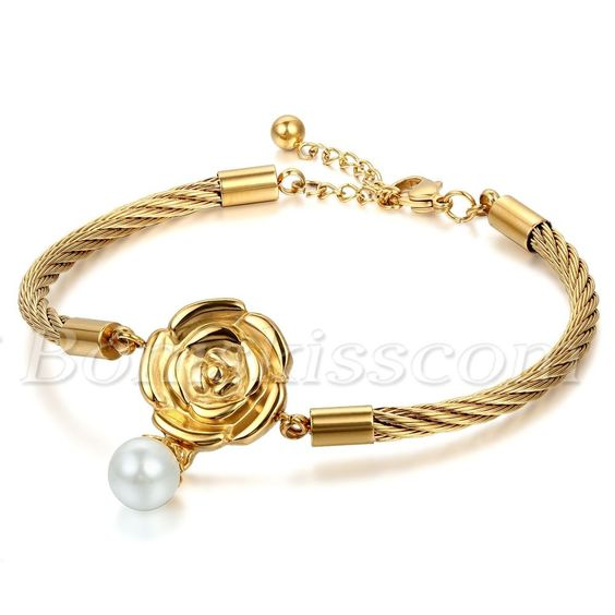 Women Rose Imitated Pearls Stainless Steel Cable Bracelet Bangle Cuff Adjustable…
