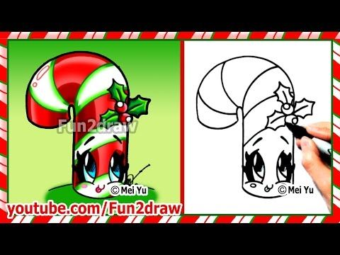 How to Draw Christmas Stuff Things - Cute Candy Cane + Holly - Art ...