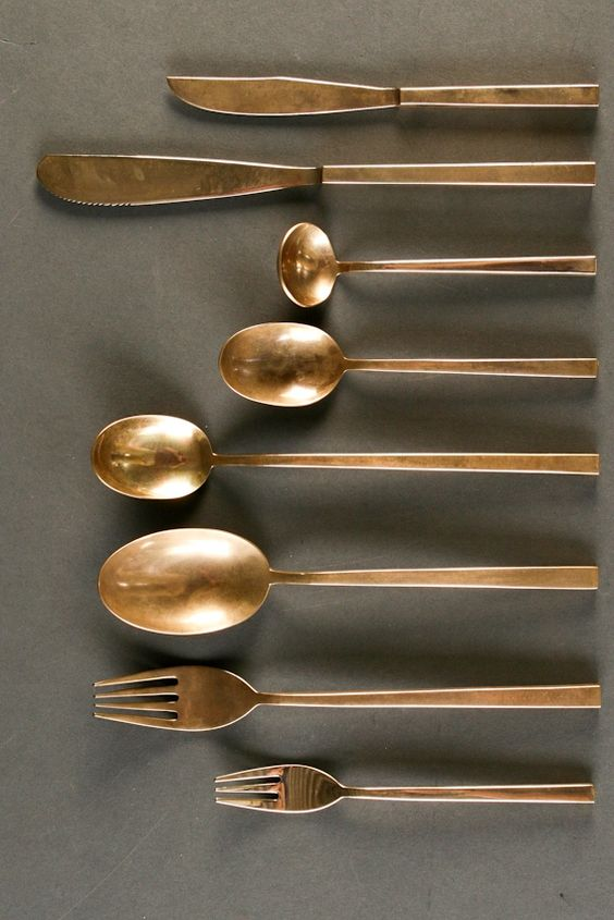 sigvard bernadotte; bronze 'scanline' flatware for broste, 1960s