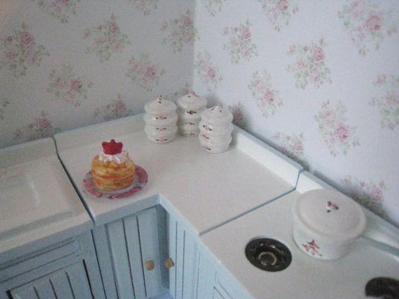 Poppenhuis keuken, bleke blauwe keuken, miniatuur keuken, keuken ...