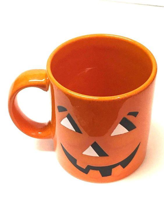 Waechtersbach Black Orange Halloween Pumpkin Coffee Mug Cup Spain #Waechtersbach